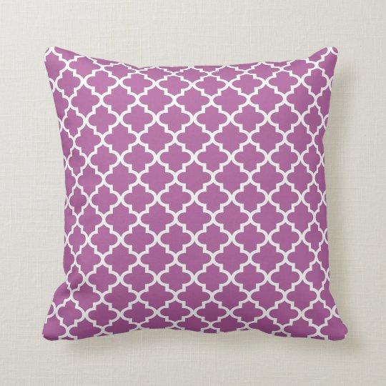 Moroccan Quatrefoil Pattern Pillow | Violet Purple