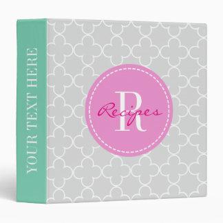 Moroccan quatrefoil pattern recipe binder book