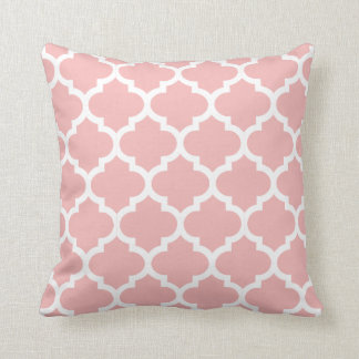 Moroccan Quatrefoil Pink Rose Pillow