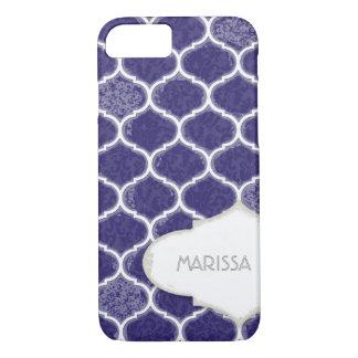 Moroccan Quatrefoil Trellis Antique Grunged Damask iPhone 7 Case