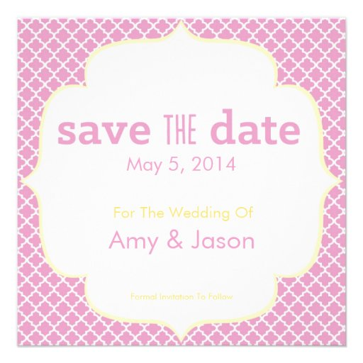 Moroccan Save The Date - Pink & Yellow Invite