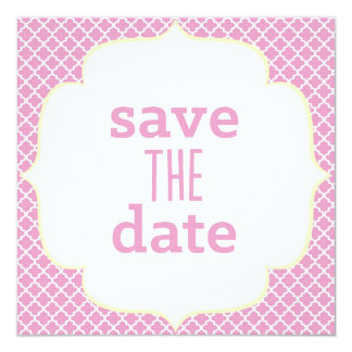 Moroccan Save The Date - Pink & Yellow 5.25x5.25 Square Paper Invitation Card