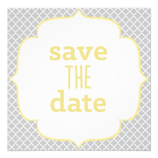 Moroccan Save The Date - Yellow & Gray Custom Announcements