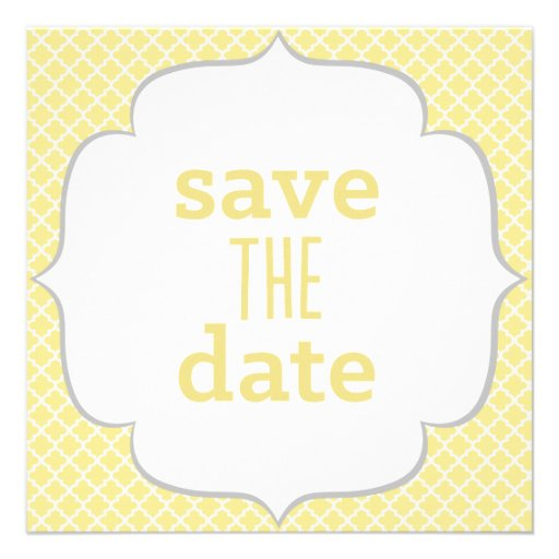 Moroccan Save The Date - Yellow & Gray Custom Invitation