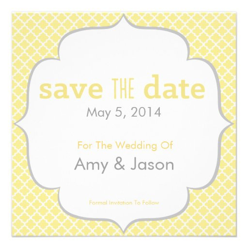 Moroccan Save The Date - Yellow & Gray Personalized Invitation
