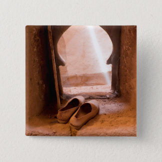 Moroccan Shoes At Window 2 Inch Square Button