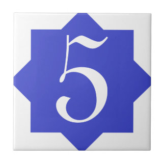 Moroccan Star Blue House Number Tile