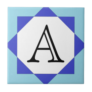 Moroccan Star Blue Letter Tile