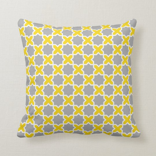 Moroccan Star Pattern in Yellow, Grey and White Throw Pillow