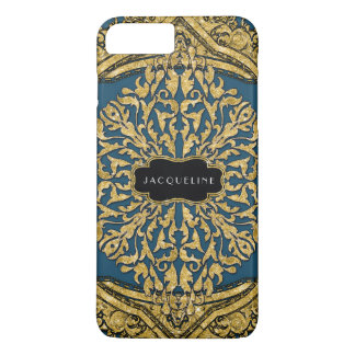Moroccan Swirl Scroll Gold Glitter Look Elegant iPhone 8 Plus/7 Plus Case