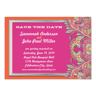 Moroccan Tangerine & Fuchsia Wedding Save the Date Card