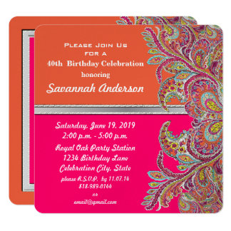 Moroccan Tangerine & Hot Pink 40th Birthday Party Card