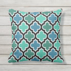 Moroccan Teal Turquoise Blue Quatrefoil Pattern Outdoor Pillow