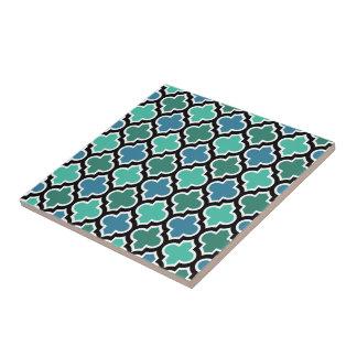 Moroccan Teal Turquoise Blue Quatrefoil Pattern Tile