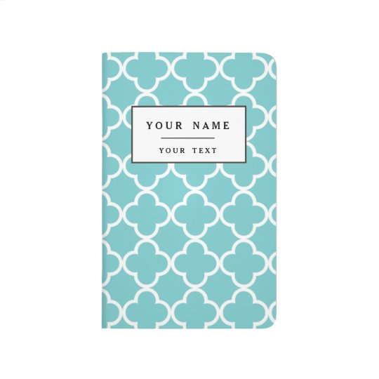 Moroccan Teal White Quatrefoil Pattern Journals