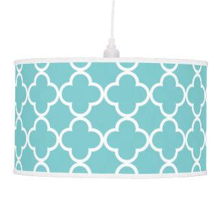 Moroccan Teal White Quatrefoil Pattern Pendant Lamp