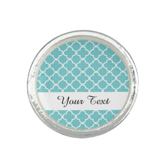 Moroccan Teal White Quatrefoil Pattern Photo Rings