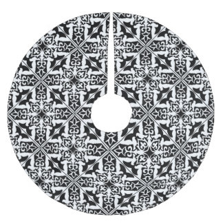 Moroccan tile - black with white background brushed polyester tree skirt