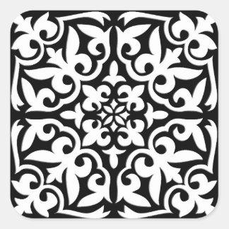 Moroccan tile - black with white background square sticker