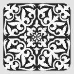 Moroccan tile - black with white background sticker