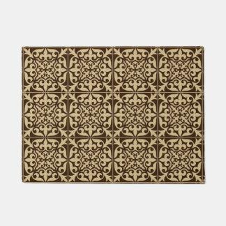 Moroccan tile - chocolate brown and beige doormat