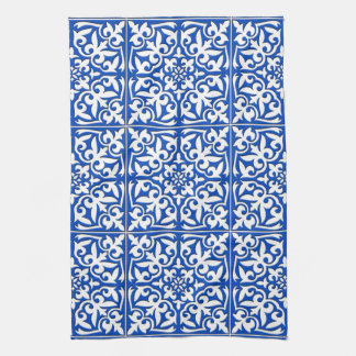 Moroccan tile - cobalt blue and white kitchen towel