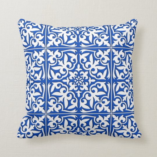 Moroccan tile - cobalt blue and white throw pillow