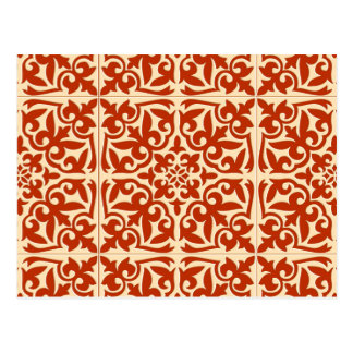 Moroccan tile - coral orange and peach postcard