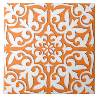 Moroccan tile - coral orange and white