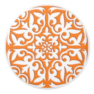 Moroccan tile - coral orange and white ceramic knob