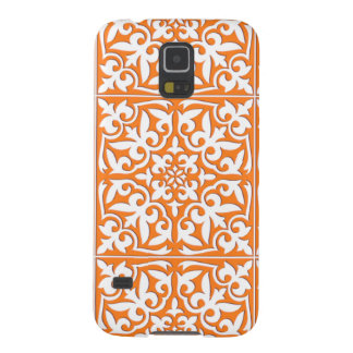 Moroccan tile - coral orange and white galaxy s5 cover