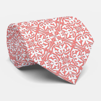Moroccan tile - coral pink and white tie