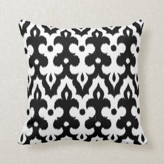 Moroccan Tile Damask Pattern, Black and White Throw Pillow