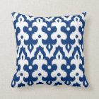 Moroccan Tile Damask Pattern, Cobalt Blue & White Throw Pillow