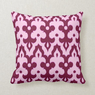 Moroccan Tile Damask Pattern, Pink and Burgundy Throw Pillow