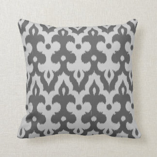 Moroccan Tile Damask Pattern, Shades of Gray Throw Pillow