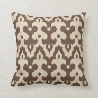 Moroccan Tile Damask Pattern, Taupe and Beige Throw Pillow