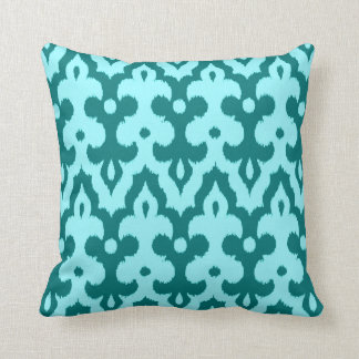 Moroccan Tile Damask Pattern, Turquoise and Aqua Throw Pillow