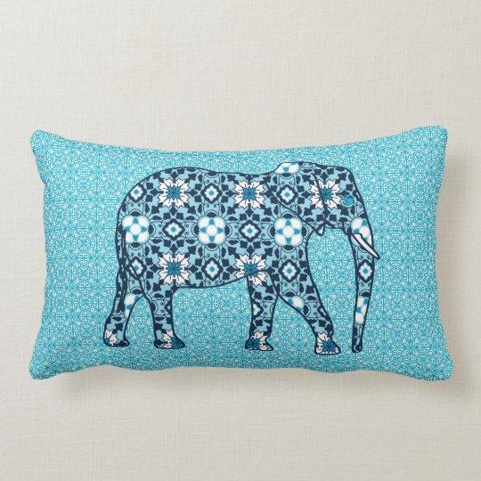 Moroccan Tile Elephant, Cobalt, Navy & Light Blue Lumbar Pillow