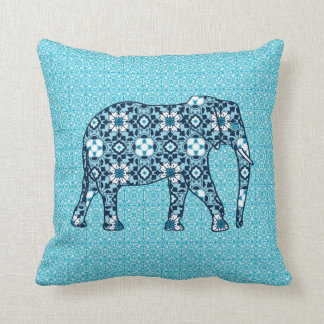 Moroccan Tile Elephant, Cobalt, Navy & Light Blue Throw Pillow