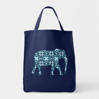Moroccan Tile Elephant, Cobalt, Navy & Light Blue Tote Bag