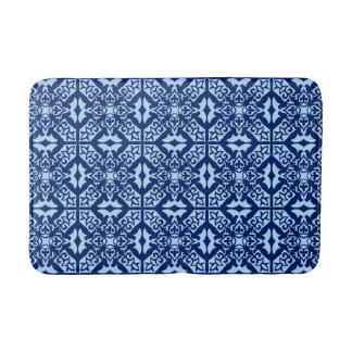 Moroccan tile - navy and light blue bath mat