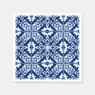 Moroccan tile - navy and light blue disposable napkins