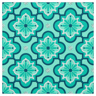 Moroccan Tile Pattern, Aqua and Turquoise Fabric