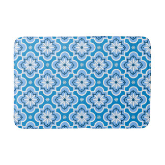 Moroccan tile pattern - Blue and White Bath Mat