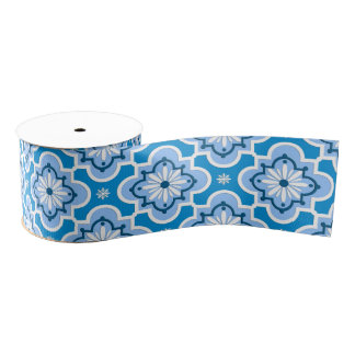 Moroccan tile pattern - Blue and White Grosgrain Ribbon