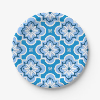 Moroccan tile pattern - Blue and White Paper Plate