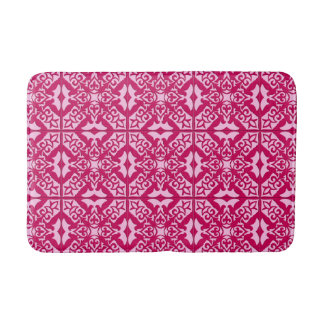 Moroccan Tile Pattern, Fuchsia and Pastel Pink Bath Mat