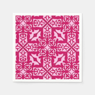 Moroccan Tile Pattern, Fuchsia and Pastel Pink Paper Napkins