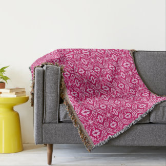Moroccan Tile Pattern, Fuchsia and Pastel Pink Throw Blanket